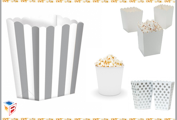 White Popcorn Boxes Ideal for packaging various items