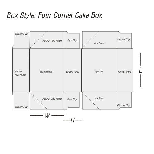 Four Corner Cake Box Printing